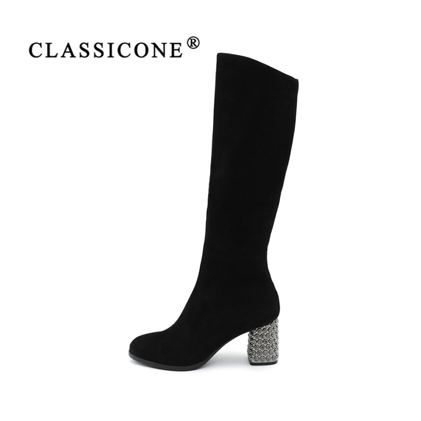 CLASSICONE 2017 new women's winter knee-High boots high heels Genuine leather suede wool sexy  black shoes women's brand fashion
