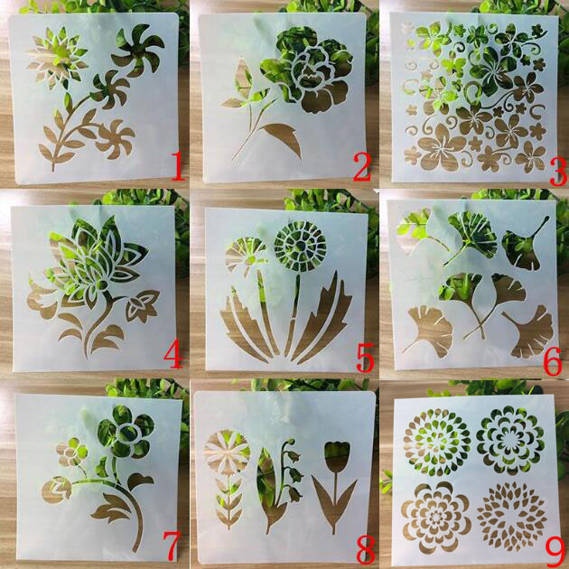 9pc Stencil Flower Openwork Painting Template DIY Embossing Craft Bullet Journal Accessories Sjablonen For Scrapbooking Reusable