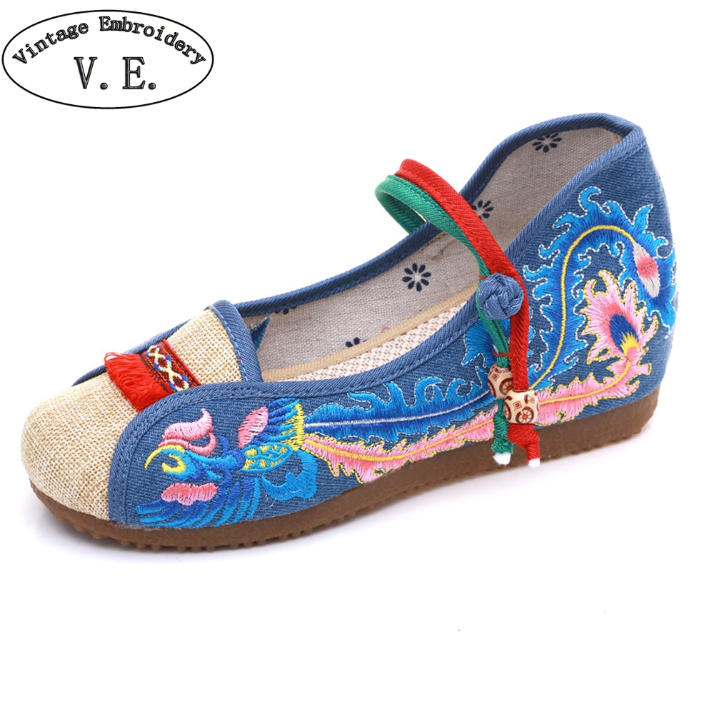 Vintage Embroidery New Arrivals Chinese National Flats Women Shoes Phoenix Embroidered Lady Increase Shoes Chaussure Femme chinese women flats shoes vintage boho