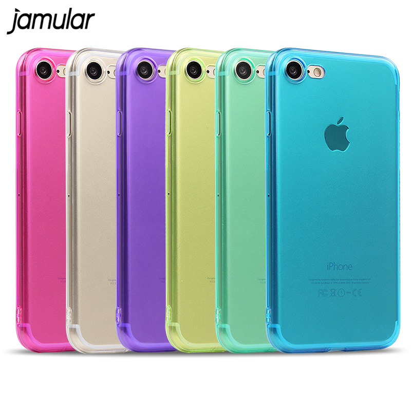 JAMULAR Crystal Clear Case for iPhone 7 8 6 6s Plus 5S SE Myk deksler Gjennomsiktig silikonetui til iPhone X XS MAX XR deksel