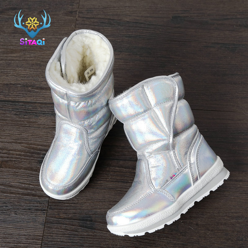 Girls Boots Silver Shoes Winter Snowboot Ski Boot Thick Plush Natural Wool Fur Kid Size Children Style 2019 New Design Free Ship