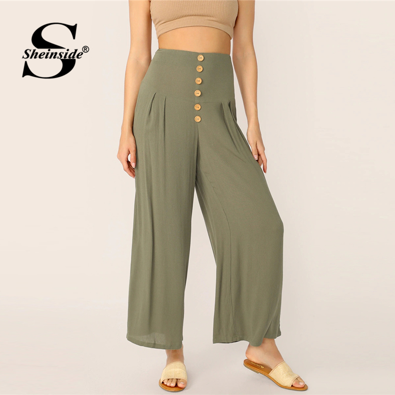 Sheinside Casual Button Detail   Wide     Leg     Pants   Women 2019 Summer Zipper Fly Long Trousers Ladies Solid High Waist   Pants