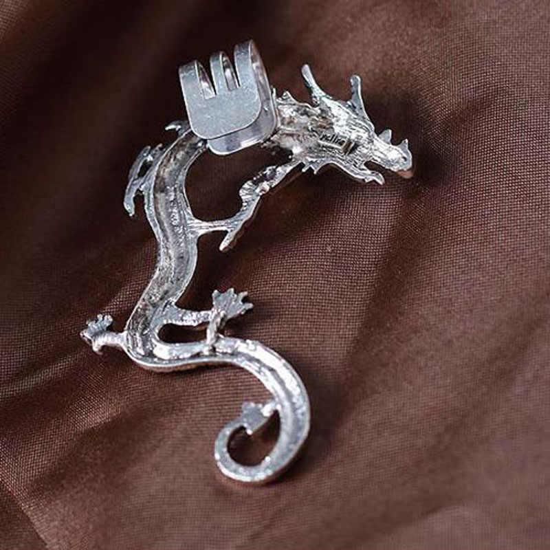 פאנק סגנון בציר שחור כסף צבע הדרקון אוזן קליפ עגילי לגברים נשים Femme שרוול עגילי זכר תכשיטים