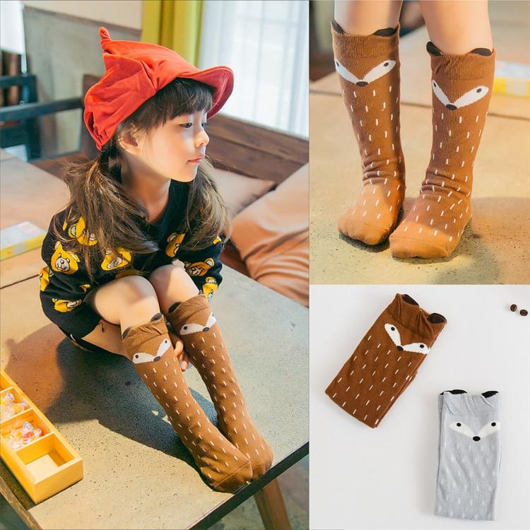 2 pair/lot Infant Kids Girl Boy Cartoon Animal Pattern Anti-slip Knee High Baby Socks 2017
