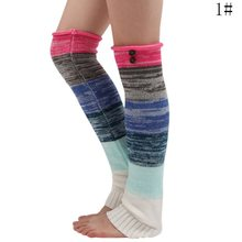 Drop shipping LOOZYKIT Women's Socks Splicing Long Over the Knee Buttons Knitted Warm Foot Cover Wool knit warm foot cover(China)