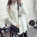 2017 новых женщин весна осень с длинным рукавом водолазка вязать повседневная кашемировый свитер платья женщина свободно пуловеры свитер 1134