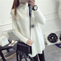 2017 new women's spring autumn long sleeve turtleneck knit casual cashmere sweater dresses woman loose pullovers sweater 1134