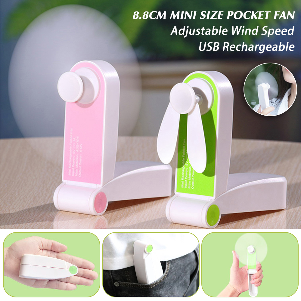 Mini Handheld Personal USB Rechargeable Fans Portable Pocket Foldable 2 Adjustable Wind Speed Fan For Home Office Travel