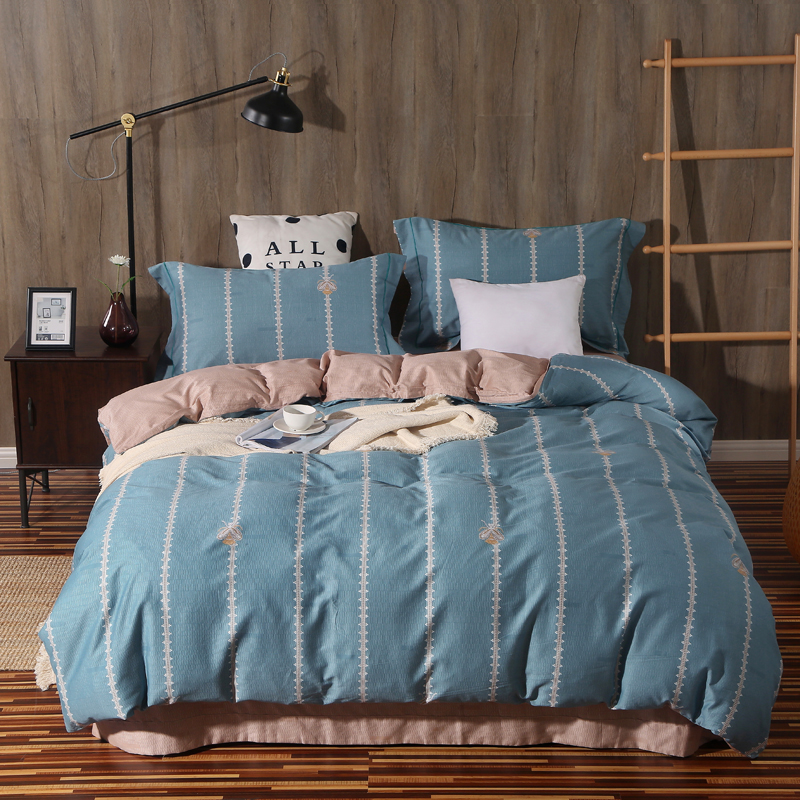 Vertical Stripes Plaid Heart Print Bedding Set Queen King Size High Quality Cotton Duvet Cover Bed Sheet PillowcaseVertical Stripes Plaid Heart Print Bedding Set Queen King Size High Quality Cotton Duvet Cover Bed Sheet Pillowcase