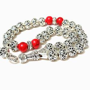 Image 2 - 8mm Hollow carved alloy beads with Red pendant Shape 33 Prayer Beads Islamic Muslim Tasbih Allah Mohammed Rosary for women men