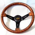 Deep Dish MOMO ABS Steering Wheel Wooden Color with Carbon Fiber Cover Racing Steering Wheel Fake Wood