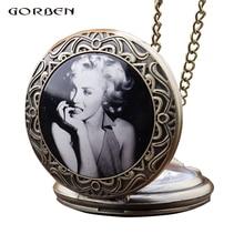 Unique Antique Pocket Watch Superstar Marilyn Monroe Necklace Chain Bronze Vinta