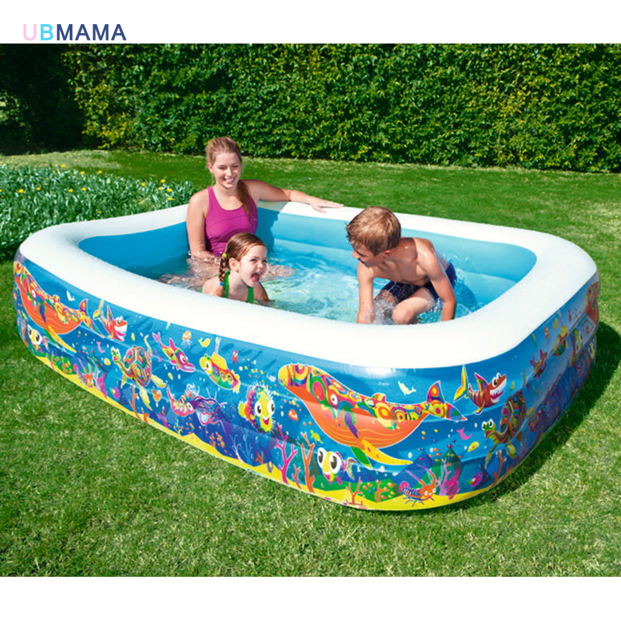 High quality large size marine pattern plastic inflatable three layer swimming pool family play pool children's ocean pool thicker deluxe high quality children baby swimming pool large inflatable swimming pool water playing pool c01