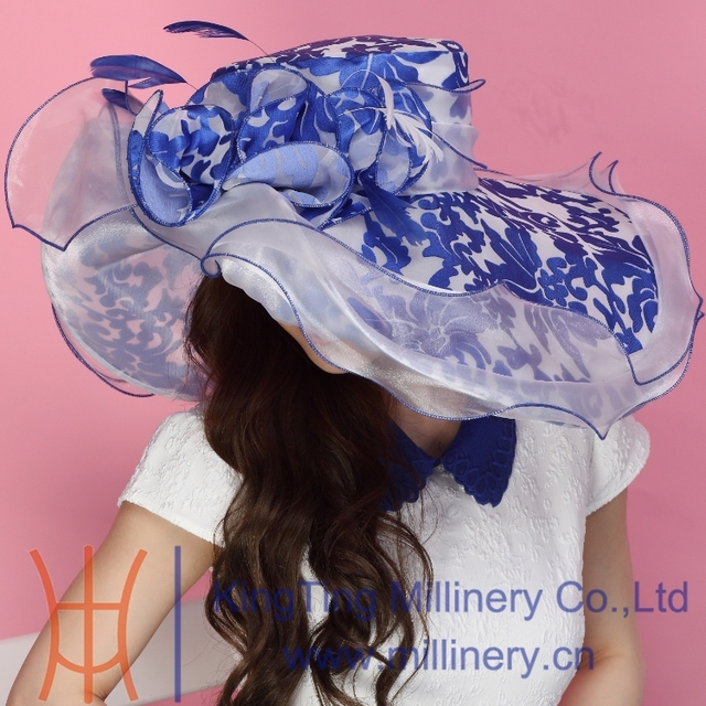 Envío gratis Fashin del sombrero del Organza sombrero de la iglesia vestido de verano sombrero de lujo flor del vestido de boda dos tonos de colores