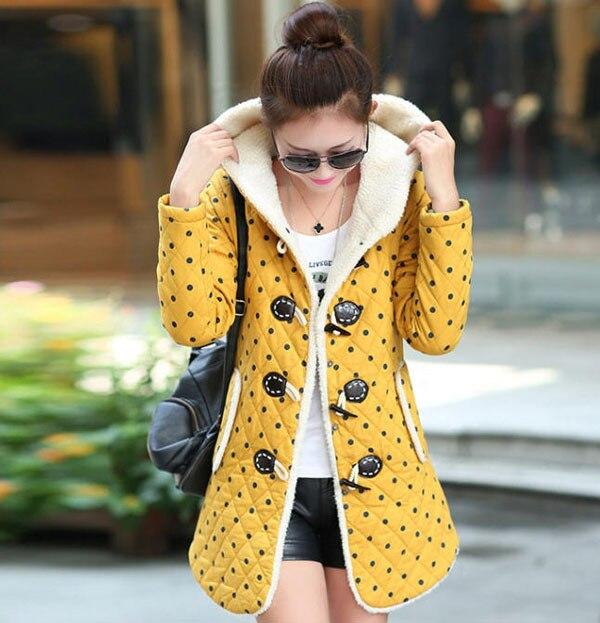 2014 New Arrive High-Quality WomenS Long Warm Down Jacket Fashion Thicken Polka Dot Down Coat Winter Down Coat Women H3047