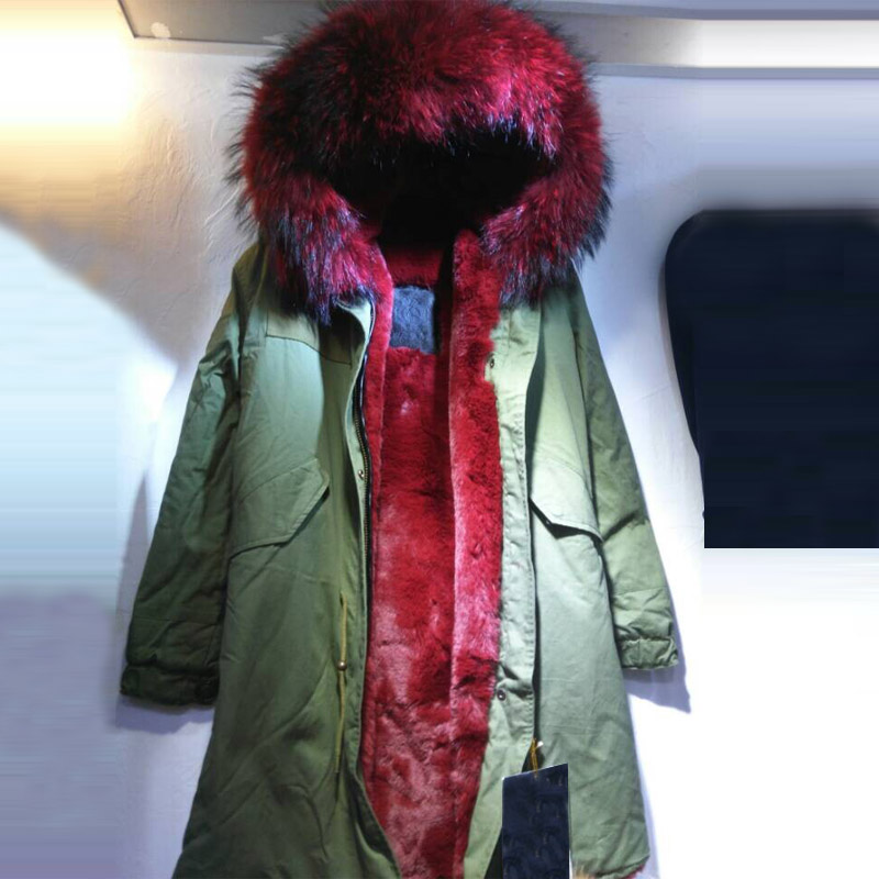Free shipping cost wine red long style faux fur inside real collar winter parka Italy brand fashion design