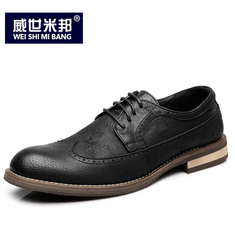 US Size Retro Mens Round Toe Classical Brogue Shoes Casual  Lace Up Wing Tips Business Man Oxfords Dress Shoes