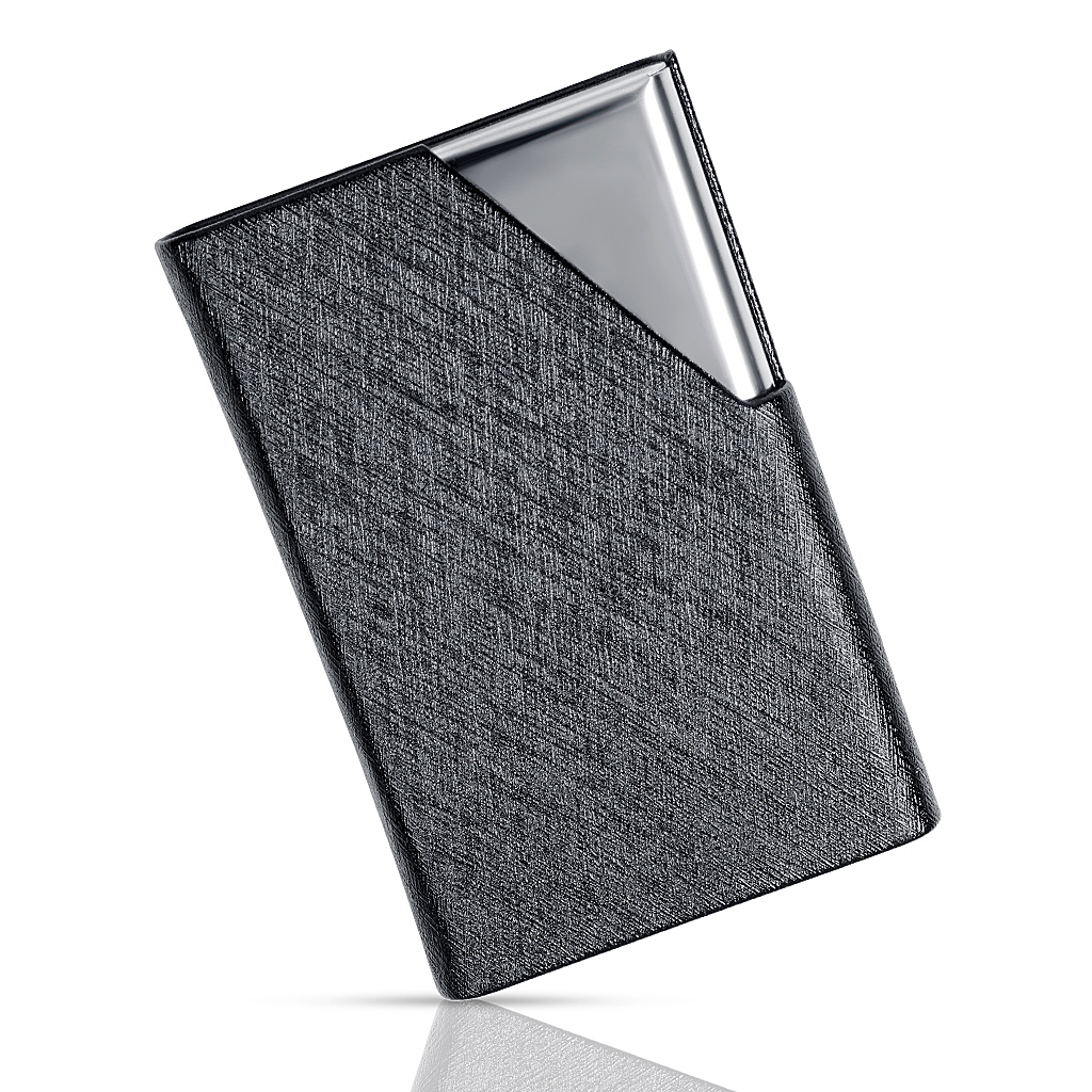 Business Card Holders Stainless Steel And PU Leather Credit Card ID Card Name Card Organize Case For Men And Women-BlackBusiness Card Holders Stainless Steel And PU Leather Credit Card ID Card Name Card Organize Case For Men And Women-Black