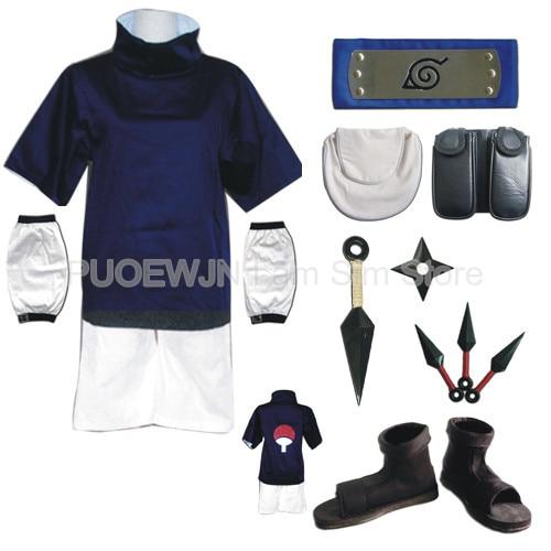 Hot sale Athemis Naruto Uchiha Sasuke Cosplay Costume and blue headband