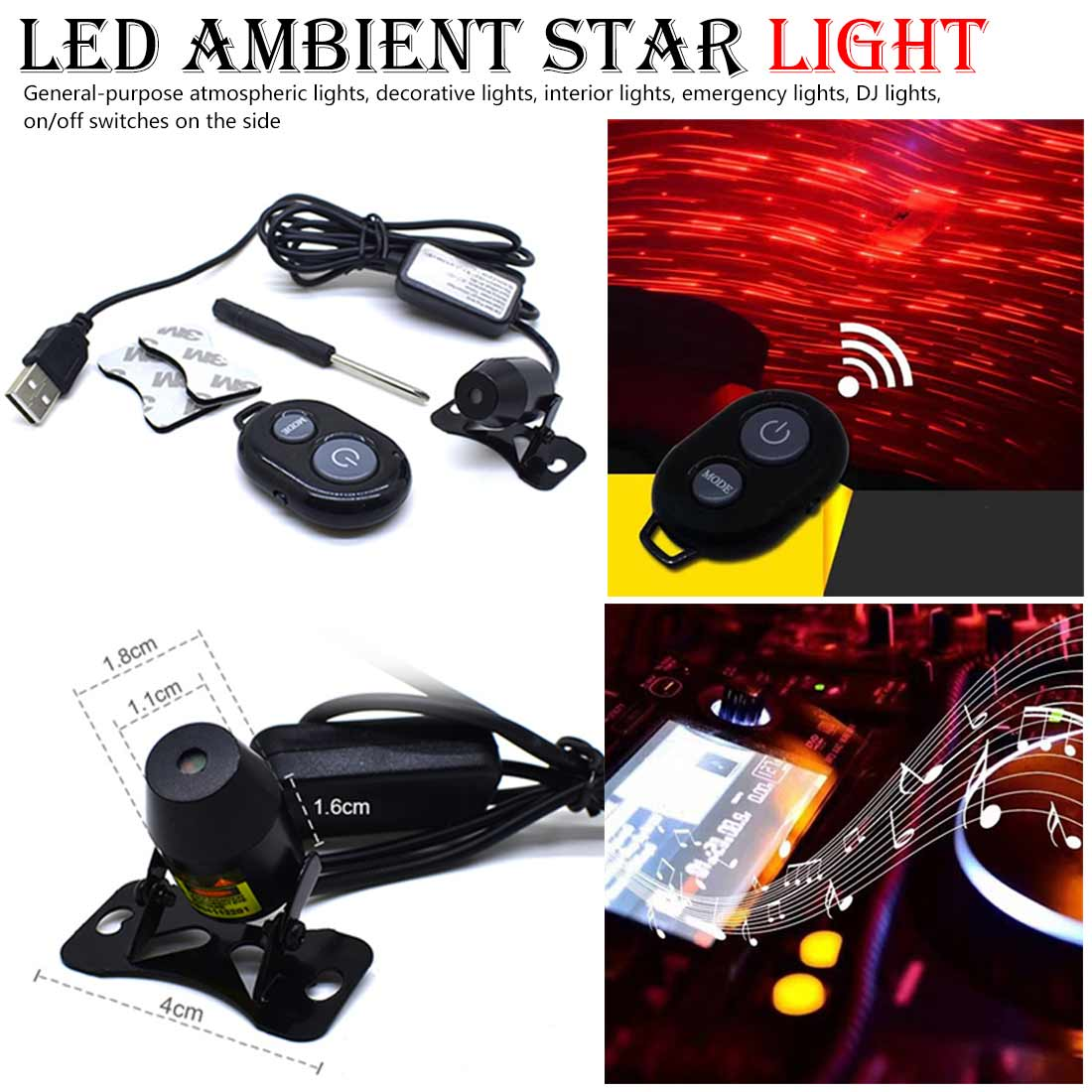 FangNymph Voice Control LED Light Car Atmosphere Ambient Star Light DJ Colorful Music Sound Lamp Remote Control Spotlight image