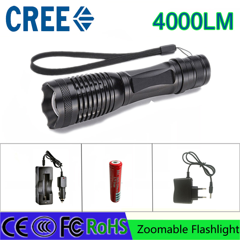 Z30 led flashlight torch CREE XML-T6 4000 lumens adjustable light torch for 3A 18650 battery rechargeable torch car charger crazyfire led flashlight 3t6 3800lm cree xml t6 hunting torch 5 mode 2 18650 4200mah rechargeable battery dual battery charger
