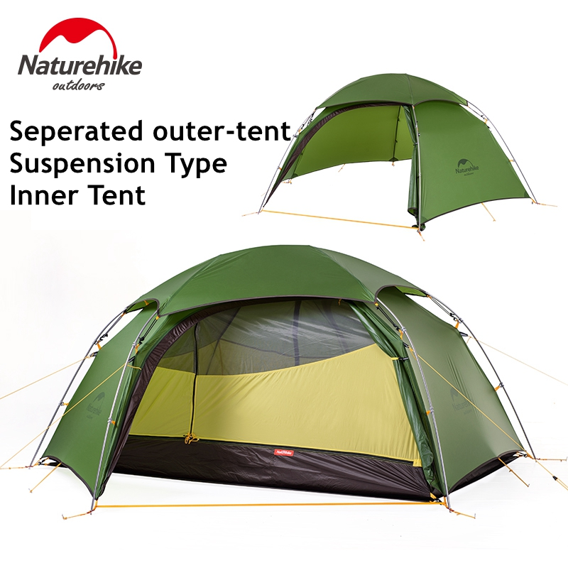 Naturehike Tent 2 Person 20D Silicone Fabric Double Layers With Waterproof Tent Roof Rainproof Camping Tent Hexagonal Ultralight yp100120 100x120cm 100x240cm 100x360cm prefab homes roof top tent polycarbonate sheet plastic shed overehead doorawning
