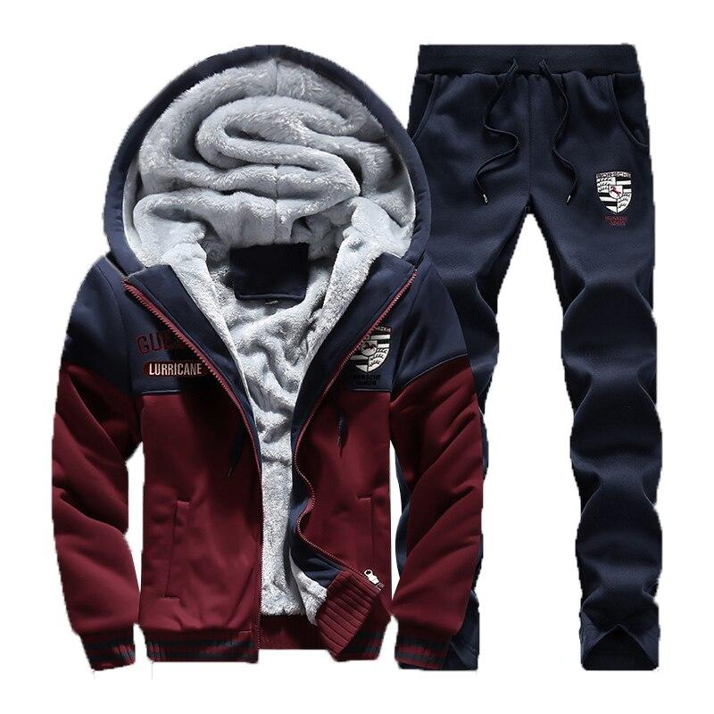 Winter Neue Mens Casual Sportwear Anzug Designer Stickerei Männlichen Verdicken Baseball Jersey Anzug Für Männer Fleece Anzüge 4XL AFD65