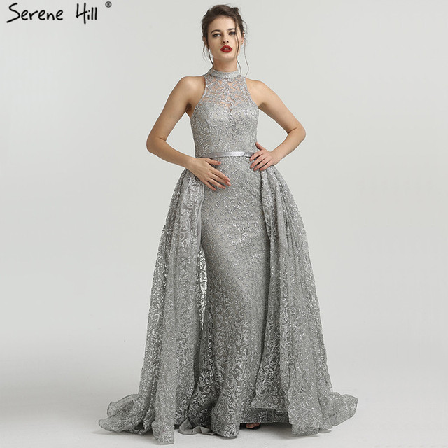 b05cbfecd1daf Grey Mermaid High-end Luxury Sexy Evening Dresses Sleeveless Sequined  Sparkly Evening Gowns 2019 Real Photo LA6279