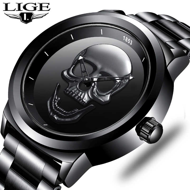 Men 3D Skull Watch LIGE Top Brand Quartz Stainless Steel Watchs Men Fashion Business Waterproof Creative Clock Relogio masculino