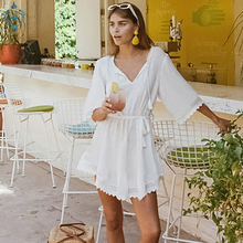 Ameision 2019 Women Summer Sexy Bohemian Beach Sundress Casual V-neck cotton slub waist bandage lace sunscreen Mini Dresses