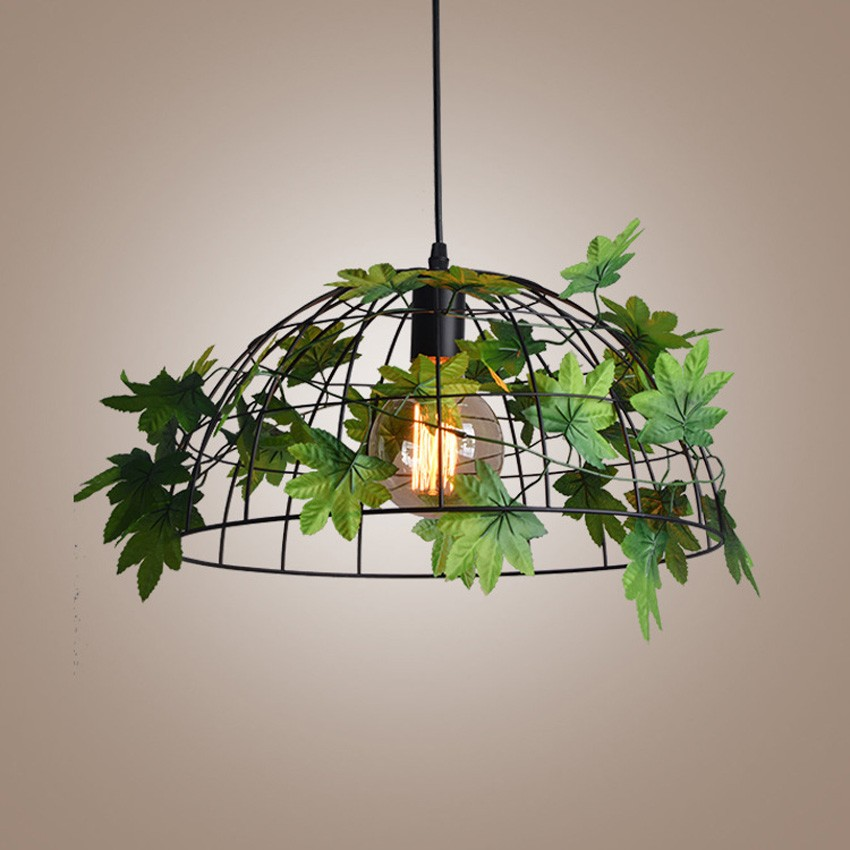 Us 75 0 Nordic Indoor Lighting Vintage Pendant Light Dia 38cm Iron Net Lampshade Green Plant Deco Industrial Hanging Lamp For Restaurant In Pendant