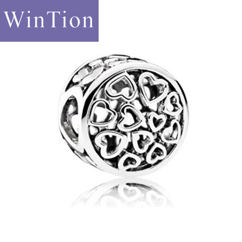 WinTion PAN100% sterling silver s925 bracelet beads, 2018 new luxury glamour heart-shaped hollow female necklace stringing