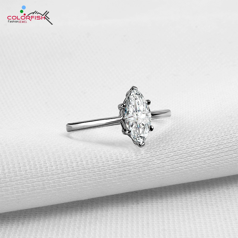COLORFISH 1.25 Carat Olives Solitaire Engagement Rings For Women Marquise Cubic Zirconia 925 Sterling Silver ring недорого