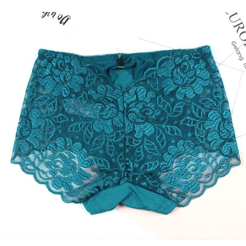 KJA189 Women Sexy Transparent Lace Underwear Briefs Female Large Size Comfortable Lingerie Ladies Mid Waist   Panties