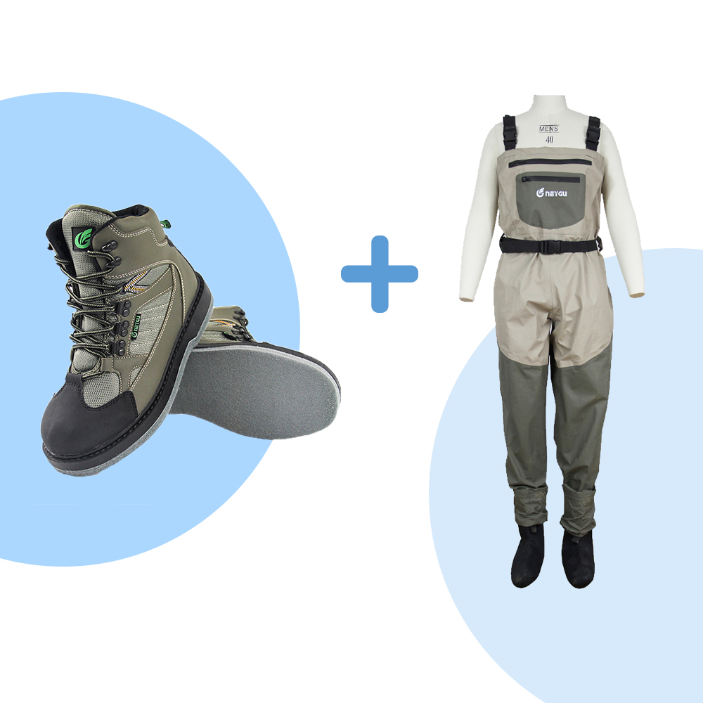 NEYGU Waterproof & Breathable Fishing Chest Waders And Felt Sole Fishing Boots For Fishing, Hunting And Outdoor Sports
