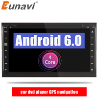 Eunavi 2 din Android 6.0 car dvd player gps navigation universal car gps radio video CD DVD disc for nissan xtrail Qashqai juke