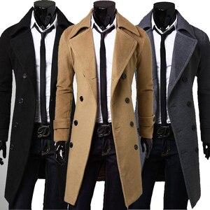 Image 5 - 新しいトレンチコートの男性 2020 ジャケットメンズ外套カジュアルスリムフィット防風ソリッドロングコート男性ファッション冬コートオムプラスサイズ