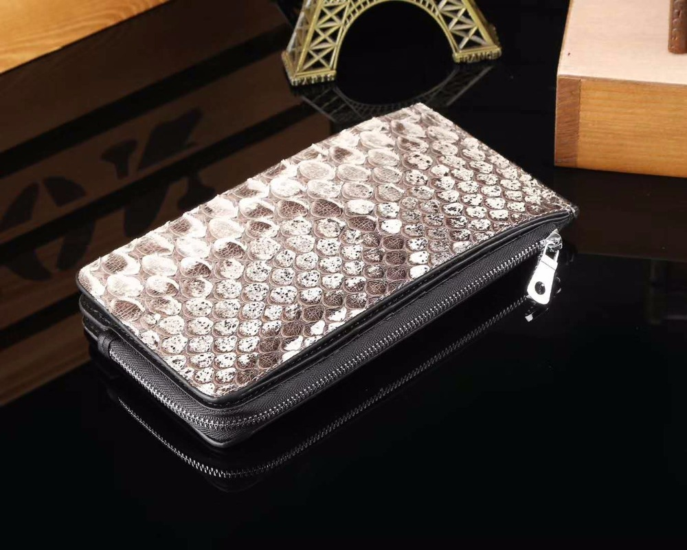 100% Genuine Snake/python Skin back tail Leather bank card holder with lots od credit card slots zipper coin pocket 3 fold commercial bank credit to agriculture in india