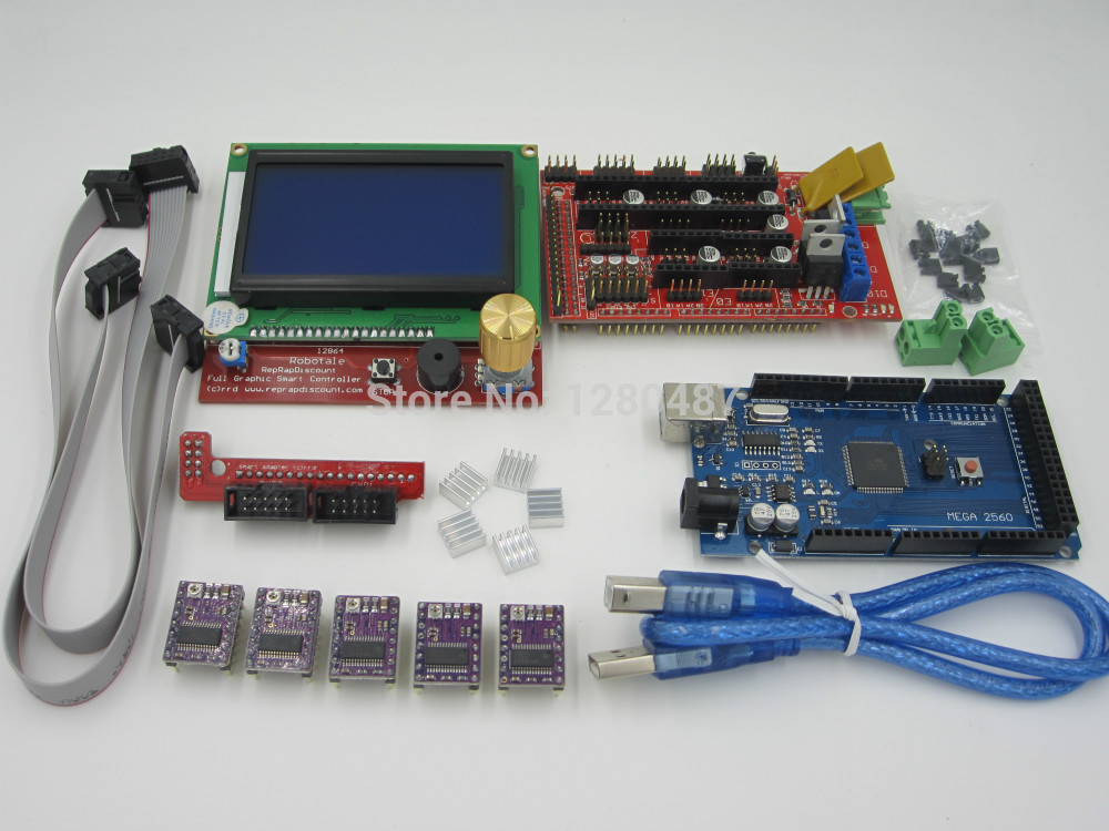 3D Printer kit 1pcs Mega 2560 R3 + 1pcs RAMPS 1.4 Controller+ 5pcs DRV8825 Stepper Motor Drive + 1pcs LCD 12864 controller reprap ramps 1 4 mega 2560 heatbed mk2b 12864 lcd controller drv8825 mechanical endstop cables for 3d printer diy kit