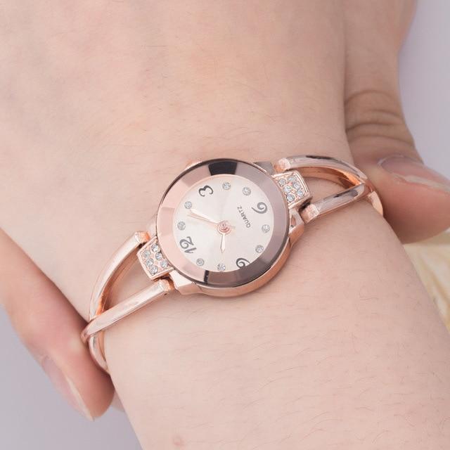 New brand Rose Gold Bracelet Watches Women Top Luxury Brand Ladies Quartz Watch