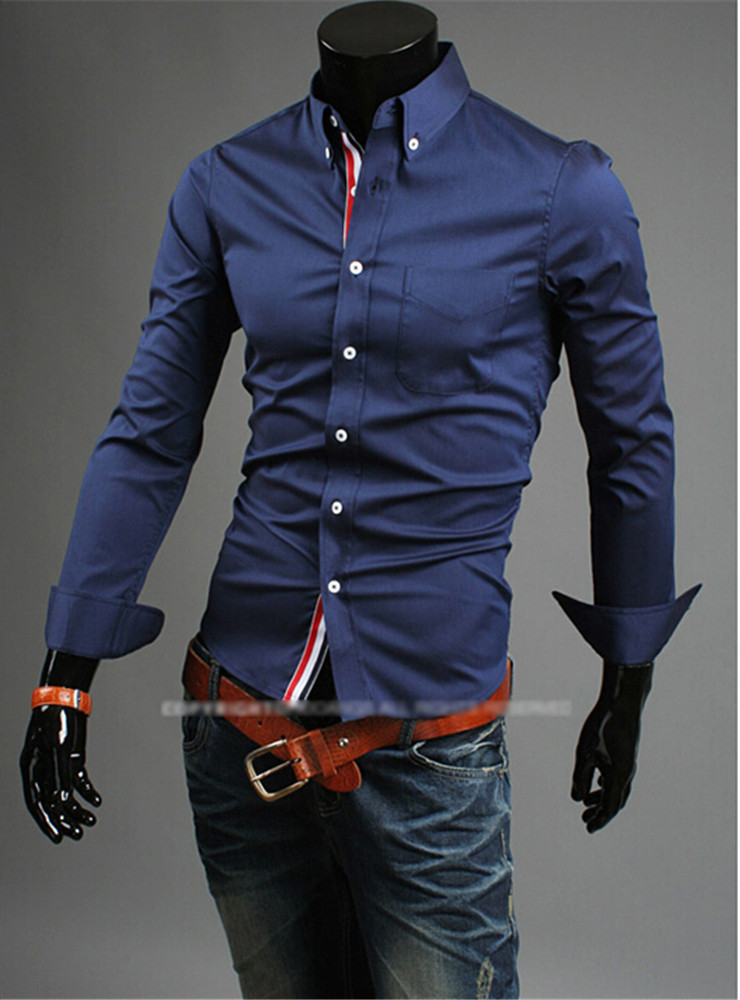 Cheap shipping hot new fashion business casual slim for Cheap slim fit shirts