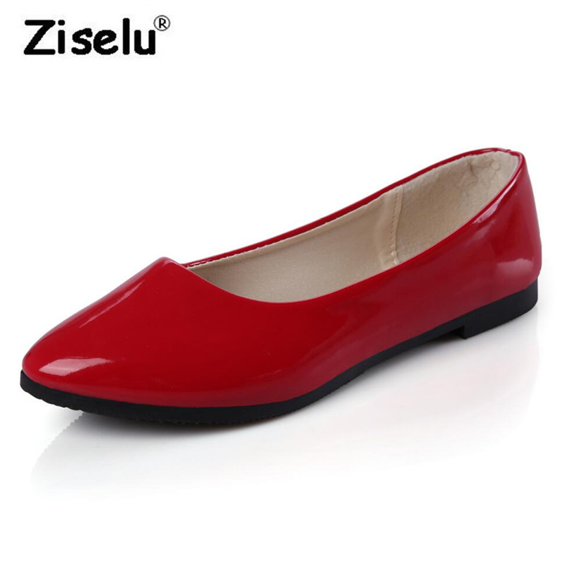 Sprig Summer Pointed Toe PU Leather Women Flats Shallow Slip on Non Slip Office Lady Working Shoes Big Sizes 35-42 Leisure Shoes cresfimix zapatos women cute flat shoes lady spring and summer pu leather flats female casual soft comfortable slip on shoes