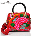 Canvas Bag Women Shoulder Brand Design Vintage Fashion Handbags Ethnic Embroidery Flower Casual Crossbody Bags