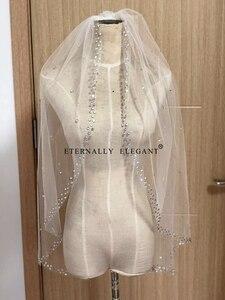 Image 3 - Voile De mariée, 2018, magnifique court, avec peigne, en dentelle, perlée, accessoires De mariage, blanc/ivoire, MD96