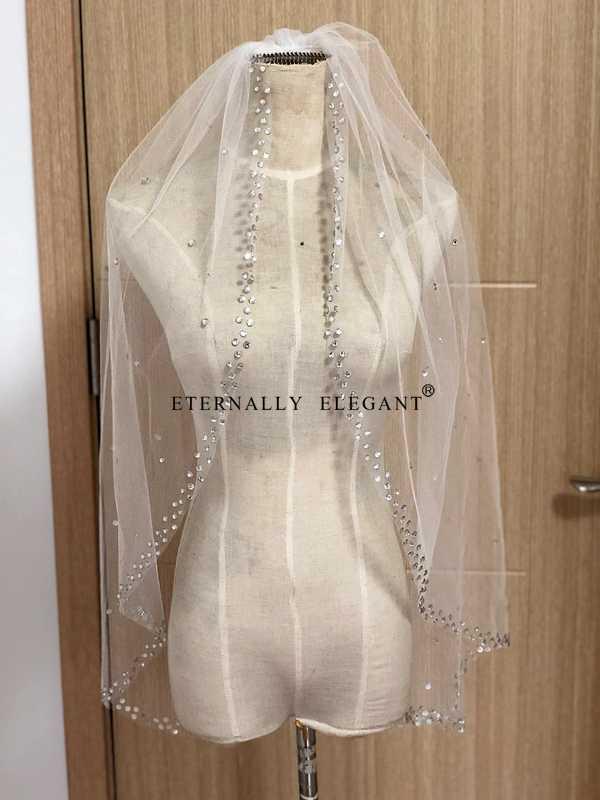 Weiß/Elfenbein Echt Fotos Hochzeit Schleier 2018 Wunderschöne Short Mit Kamm Spitze Perlen Braut Schleier Hochzeit Zubehör Veu De noiva MD96