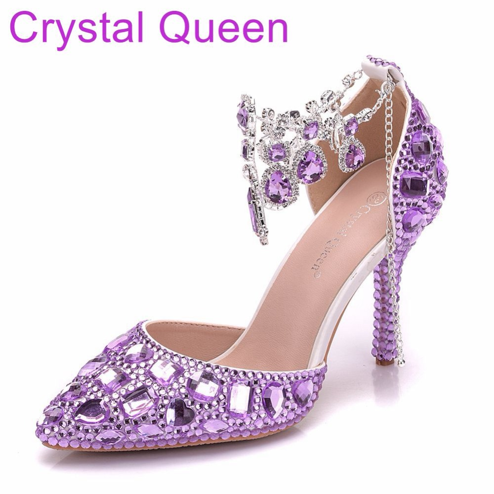 Crystal Queen Women Sandals Thin Heels Pointed Toe Shoes White Wedding Bridals Shoes Plus Size 42