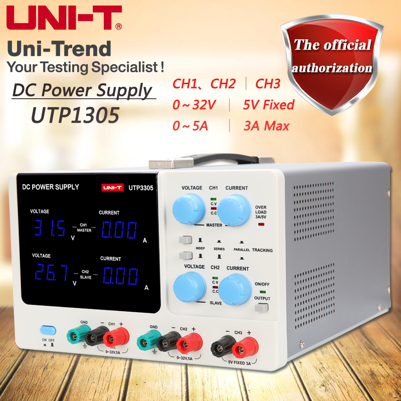 цена на UNI-T UTP3305 multi-channel linear DC power supply 0 to 32V/0 to 5A adjustable, 5V/3A fixed