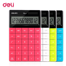 Deli dual power supply calculator 12 digits fashionable solar energy/battery energy school and office supply calculator eco friendly bamboo electronic calculator counter standard function 12 digits solar battery dual powered for home office school