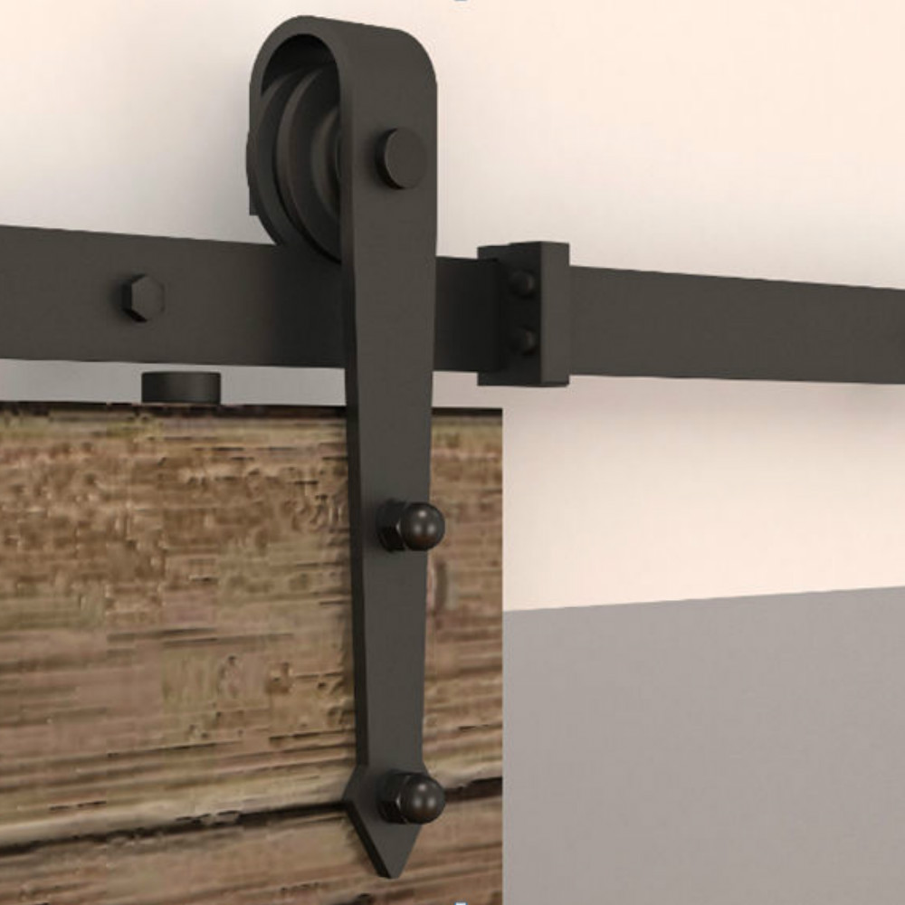 6.6FT acero negro madera rústica deslizante granero puerta hardware ...