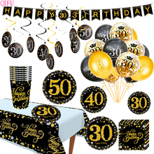 QIFU Black Gold Party Decor 30th Candy Stickers 40th Happy Birthday Decorations Adult Banner 60th Supplies